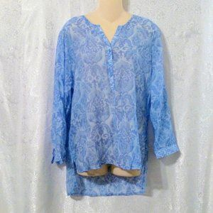 Grand & Greene Sheer Blue Print Tunic Blouse Top